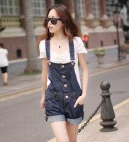 2015 New style denim jeans loose school wear spaghetti strap pants female one piece denim jumpsuits short bib pants shorts S-XL