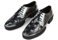 Free Shipping Small Size 37 38 39 45 44 Plus Size Men Genuine Leather Flats Boys Spring Autumn Fashion Skull Thick Heel Bottom