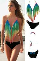 Beauty online 2015 New Sexy Summer Beach bikinis set bathing suit Sexy Tassel Gradient Rainbow Long Fringe Bikini LC41020
