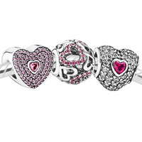 925 Sterling Silver Charm and Bead Sets with Box Fits European Jewelry Bracelet Necklaces & Pendants -Love Set