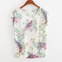 2015 New Arrival Floral T-shirt O-neck Casual Woolen Short Appliques Regular Print Regular Natural Color T-shirts Cartoon Bird