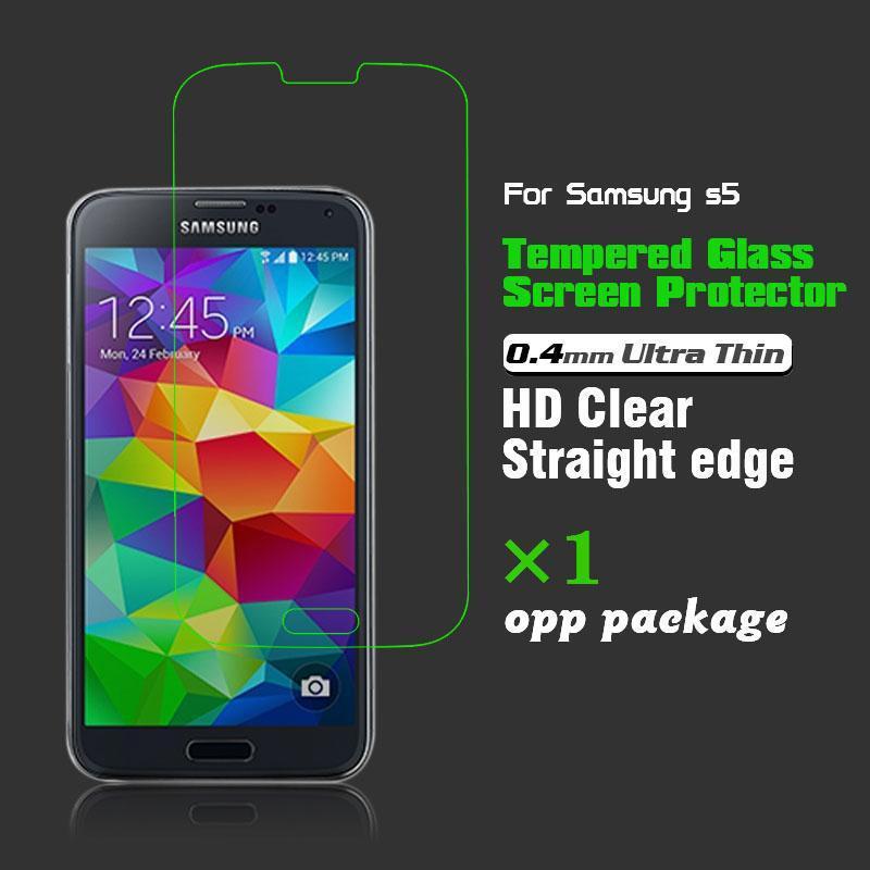 Гаджет  Clear Tempered Glass Screen Protector Cover 0.4mm 9H Hardness for Samsung Galaxy S5 i9600 None Телефоны и Телекоммуникации