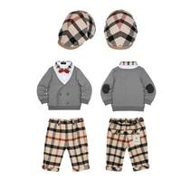 015 New Spring Autumn Brand Children Plaid Clothing sets Baby Boys Thick Shirt+Pants+Cap hat 3pcs suit High quality Boy Outfits