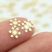 Free Shipping 1 Set of 100pcs Cute Beautiful Golden Metallic Snowflake Decals Stickers for Nail Art Hot
