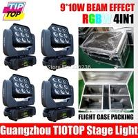 Flightcase For 4XLOT Matrix Led Moving Head 9*10W Led Beam Moving Head RGBW Mini Moving Head Beam Light Pixel Control