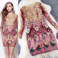 2015 New Arrival Spring Brand Women Gold Sheath Elegant Embroidery Mesh Silk Dress Bodycon Sexy Party Dresses  LIREN D20406