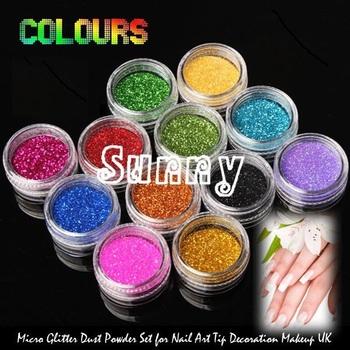 Один шт новый 12 цветов мода ногтей украшения лазерной отражающее блестки порошок ...