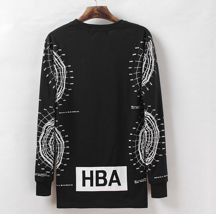 2014 HBA Brand Men's Long Sleeve t-shirts Graphic Printed Extended Tee Shirts Hood By Air Hip Hop tshirts(China (Mainland))