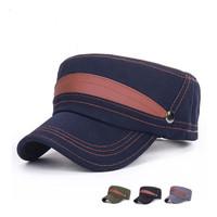 Fashion Military Hat 100% Cotton Male Cadet Engineering Cap Sunbonnet Sun Hat Adjustable Size 56-60cm