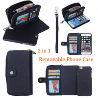 30pcs/lot For iPhone 6 4.7 inch 2 in 1 Purse Wallet 3 Credit Card Slots Leather Case,Free Shipping