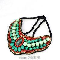 TNL167  Tibetan T-fashion big statement pendant Necklace,Nepal colorful stone beaded sewed Pendants Amazing 2015 Spring New