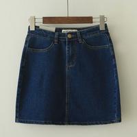 Self-restraint spring slim hip short skirt bust skirt fashion normic aa vintage elastic high waist denim skirt