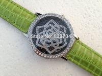 2015 Lady Fashion Leather Analog WristWatches Silver case Quartz Watch Flowers Dial brand Women Rhinestone Watches Free Shipping