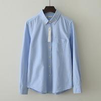 Spring small fresh 100% Oxford silk cloth cotton long-sleeve shirt female loose basic turn-down collar shirt