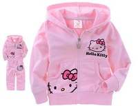 Fashion Baby clothing set Children kids Sport Suit Girls Spring Autumn Clothing set Hello Kitty cartoon hooded jacket Wholesale