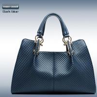 2015 New Fashion Trend Women Bag Handbag Shoulder Bag  PU leather Tote  Blue Black Color Russian Freeshipping