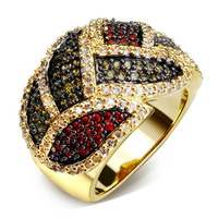 CZ Cubic Zirconia Ring Colorful New Spring Look Pave Setting Rich Colors Party Wild Red Green Black Jet Siam Deluxe - VC Mart