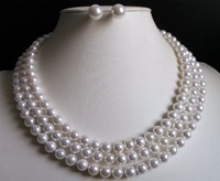 """3 Rows 8mm white south sea shell pearl necklace Earrings 17-19"""" LL002"""