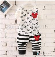 2015 Children's striped leisure suit , Children round neck t-shirt + stripe trousers two sets 1024