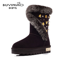 Winter genuine leather real rabbit fur high heel snow boots Rhinestone warm tall snow boots shoes Plus Size botas couro genuino