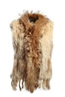 Winter Fashion Women's Rabbit Fur Vest with Raccoon Fur Collar and Stripes