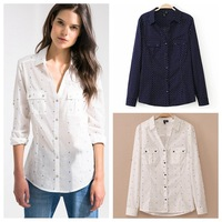 European Grand Prix 2015 new autumn and winter wave point collar shirt printing can be chock shirt blouse Z5052