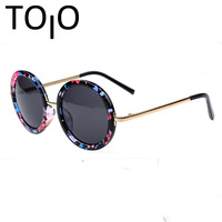 2015 New Hot Korean Exclusive Brand Fashion Vintage Lovely Frog Mirror Round Frame Trendy Sunglasses Cheap Wholesale PT32