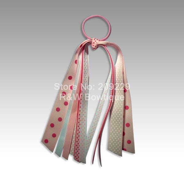 Free Shipping 50pcs/lot Pinks Streamer Ponytails Elastic Hair Bands Wholesale Girls Hairbows Hairclips Headbands(China (Mainland))
