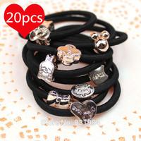 20 PCS/Lot Korea Fashion Crown Star Rubber Band Hairband Elastic Ties Headbands Headwear Black Hair Rope