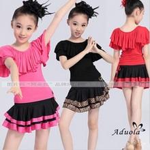 2015 Infantil Girls Latin Dance Dress Roupa Kids Dance Tutu Children Costumes Samba Ballroom Dance Dress Exercise Clothing FC219