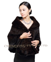 CX-B-M-21B Genuine Knitted Mink Fur Wholesale Woman Winter Shawls