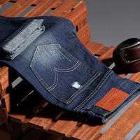 Autumn Korean leisure code elastic men's trousers fashion slim straight cylinder mens jeans