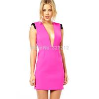 2015 New Summer Sexy Ladies Party Mini Dress Bandage dress Sleeveless Sweet Club Dress