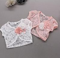 Wholesale Girl Clothes Children Girls Wraps Cotton Lace Wrap White/Pink 2015 Fashion Kids Tops Summer Girl's Cappa 5pcs/lot