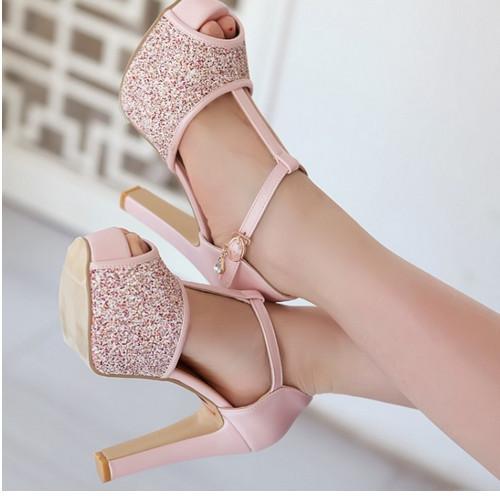 2015 Big Discount Female Sexy Peep Toe Buckle Strap Summer Pumps Girls High Heel Glitter Shoes Women Wedding sandles Big size(China (Mainland))
