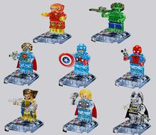 8Pcs Crystal Marvel Super Hero Avengers Figures Building Blocks Minifigures Bricks Model Toys Compatible with Lego(China (Mainland))