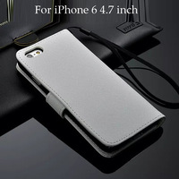 10pcs/lot Free Shipping Book Style Card Slots Cross Genuine Leather Case For iPhone 6 4.7 inch