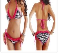 Sexy triangle bikini Sets zebra-stripe Swimsuit Swimwear Bathing Suit bra&underpants Padded Micro For Women summer dress BN51