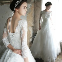 New 2015 Elegant Sexy Wedding Dresses Satin Gowns Arrival Long Sleeve Sheer Lace Gown Bridal & Events 7711 zyy
