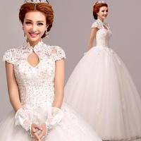 free shipping 2015 Fashion backless wedding dress lace wedding dress bubble yarn princess 2286 zyy