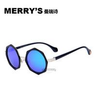 2015 MERRY'S New Arrival Fashion Vintage Six edge Women Sunglasses Wrap Metal Frame Mirror Lens Love Retro Sunglasses MRY8510