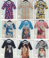 2015 Hot wind western union style women's 3d dresses half sleeve o neck high print Animal/character thin slim dress