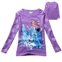 2014 Girls Spring Autumn Cartoon Children kids baby Princess T shirt long sleeve girl tees Top shirt purple rose red