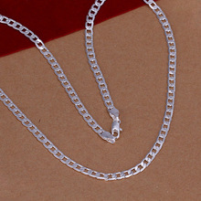 16-30inch, 4MM flat cube chain, Free Shipping 925  Sterling Silver Jewelry Men's Necklace , silver Chain Necklace for men