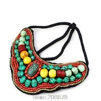 TNL168  Tibetan T-fashion big statement pendant Necklace,Nepal colorful stone beaded sewed Pendants Amazing 2015 Spring New