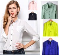 2015  blouse chiffon pocket female shirt women
