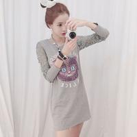The 2014 fall fashion Korean Ladies lace stitching slim slim long sleeved T-shirts printed dresses