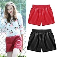 women's PU leather short pants 2015 fashion stretch wide pine bark women shorts loose straight solid capris black, red color