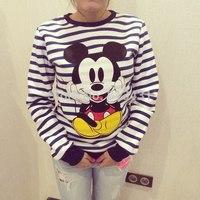 New 2014 women striped pullover long sleeve hoody sweathirt for female s m l