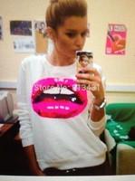 women new 2014 fashion sexy red Lip print white/blac/gray hoody swearshirt Long sleeve Top s m l